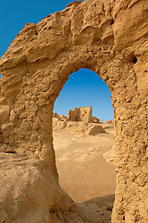 Detail of remains of ancient Silk Road city of Jiaohe in Xinjiang Province of China