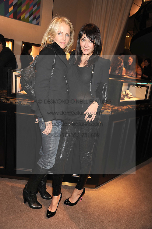 Left to right, LINDA JOHNSON and ANNABEL NEILSON at a party to celebrate the launch of the Raffles Asprey Cocktail, held at Asprey, New Bond Street, London on 13th November 2008.