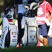 Ryder Cup 2016. Day Three. The golf clubs of Henrik Stenson and Jordan Spieth during the Sunday singles competition at  the Ryder Cup tournament at Hazeltine National Golf Club on October 02, 2016 in Chaska, Minnesota.  (Photo by Tim Clayton/Corbis via Getty Images)