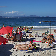 A beach scene at Copacabana beach, Rio de Janeiro,  Brazil. 4th July 2010. Photo Tim Clayton..