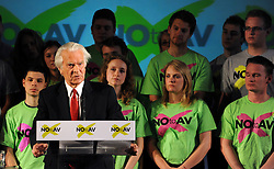 © under license to London News Pictures. LONDON, UK  03/05/2011. Lord Owen addresses the Rally. William Hague, Lord Owen, Theresa May, Paul Boateng, John Healey and James Cracknell at a rally urging support for a NO vote held at The Methodist Hall in Central London this morning (03 May 2011). The Rally was to urge people to vote in favour of a NO vote at the forth coming AV Referendum. Photo credit should read Stephen Simpson/LNP.