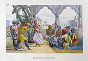 Bayaderes, Temple dancers, performing, acompanied by male musicians.  Hand-coloured lithograph from 'L'Inde francaise', Paris,  1828.