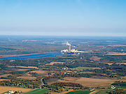 Aerial view of Columbia County, Wisconsin, with the Columbia Generating Station in the background.