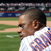 NEW YORK, NEW YORK - APRIL 13: Curtis Granderson,  New York Mets, in the dugout during the Miami Marlins Vs New York Mets MLB regular season ball game at Citi Field on April 13, 2016 in New York City. (Photo by Tim Clayton/Corbis via Getty Images)