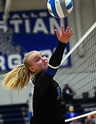 Sioux Falls Christian's Kelsi Heard reaches in a last-ditch effort to keep the ball in play during their volleyball match against Dakota Valley on Thursday, September 24, 2020, at Sioux Falls Christian High School.
