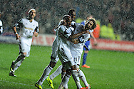 Swansea city's Dwight Tiendalli ©  celebrates with Jose Canas (r) after he scores his sides 1st goal to make it 1-1.  Barclays Premier league, Swansea city v Everton at the Liberty Stadium in Swansea,  South Wales on Sunday 22nd Dec 2013. pic by Andrew Orchard, Andrew Orchard sports photography.