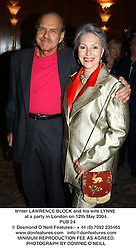 Writer LAWRENCE BLOCK and his wife LYNNE at a party in London on 12th May 2004.<br /> PUB 24