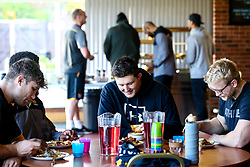 Charlie Matthews, Ben Morris and Will Rowlands of Wasps have lunch during training ahead of the European Challenge Cup fixture against SU Agen - Mandatory by-line: Robbie Stephenson/JMP - 18/11/2019 - RUGBY - Broadstreet Rugby Football Club - Coventry , Warwickshire - Wasps Training Session