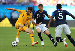 KAZAN, June 16, 2018  Mathew Leckie (L) of Australia vies with Lucas Hernandez (C) of France during a group C match between France and Australia at the 2018 FIFA World Cup in Kazan, Russia, June 16, 2018. (Credit Image: © Yang Lei/Xinhua via ZUMA Wire)