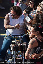 """Award ceremony at Willie's Tropical Tattoo """"Chopper Time"""" old school chopper show during Daytona Bike Week's 75th Anniversary event. Ormond Beach, FL, USA. Thursday March 10, 2016.  Photography ©2016 Michael Lichter."""