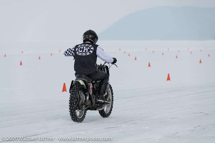 Moscow photographer Aleksei Kalabin racing down the ice track on his Kawasaki w650 racer at the Baikal Mile Ice Speed Festival. Maksimiha, Siberia, Russia. Thursday, February 27, 2020. Photography ©2020 Michael Lichter.