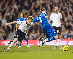02.02.2011, Craven Cottage, London, ENG, PL, Fulham FC vs Newcastle United, im Bild Fulham's Damien Duff  fouls Newcastle United's Danny Guthrie //  during the Premiership match against Fulham FC vs Newcastle United at Graven Cottage, EXPA Pictures © 2011, PhotoCredit: EXPA/ IPS/ M. Greenwood *** ATTENTION *** UK AND FRANCE OUT!