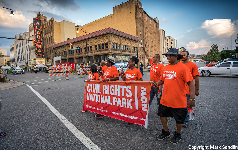 Volunteers leading the March for Birmingham. The Alabama Theater in the background