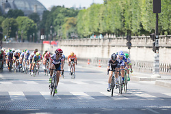 Joelle Numainville (CAN) of Cervélo-Bigla Cycling Team ends her turn on the front of the break during the La Course, a 89 km road race in Paris on July 24, 2016 in France.