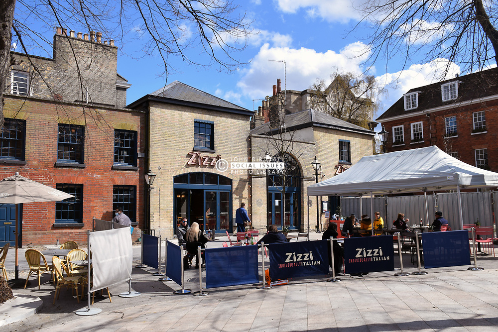 As England eases out of Coronavirus lockdown no 3, hospitality reopens for alfresco dining on 12 April 2021, Zizzi, Norwich UK
