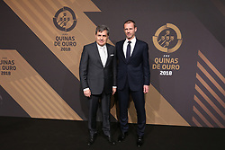 March 19, 2018 - Lisbon, Lisbon, Portugal - Portugal's football federation President Fernando Gomes (L) accompanied by UEFAs President Aleksander Ceferin poses on arrival at 'Quinas de Ouro' 2018 ceremony held and the Pavilhao Carlos Lopes in Lisbon, on March 19, 2018. (Credit Image: © Dpi/NurPhoto via ZUMA Press)