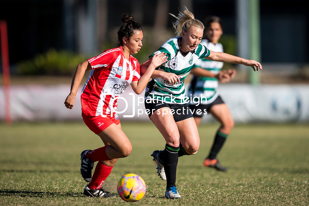 BRISBANE, AUSTRALIA - AUGUST 19:  during the round 18 PlayStation 4 National Premier Leagues Queensland Women's match between Olympic FC and Souths United on August 19, 2017 in Brisbane, Australia. (Photo by Olympic FC / Patrick Kearney)