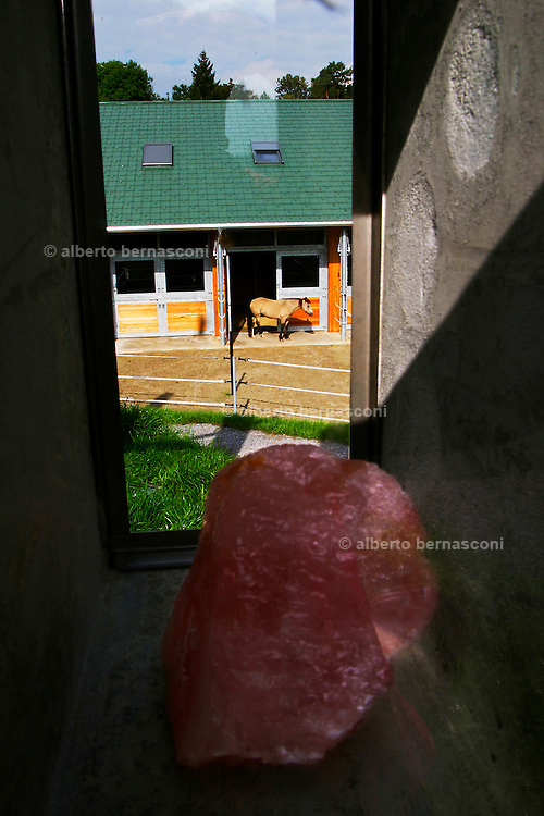 Switzerland, Uzwil, Health Balance clinic for animals....Rose quartzes in the structure of the Healing Room. Inside this..circular room animals absorb beneficial energetic impulses. It has been..built according to geobiological principles on a site rich in natural..energy. Through the principles of Global Scaling, the Healing room..encourages the formation of natural vibrations.The materials used in..the foundations, as well as the rose quartzes, strengthen the..energy-giving effect... The goldfish swims lazily between the fronds of fake seaweed, under the attentive gaze of the medical staff. ?When he came here he was moving all wrong. He swam crooked, he was almost upside-down,? explains Marisa Polanec, obviously enthusiastic at the result. For it appeared that the littlest in-patient at Health Balance, the Swiss clinic for animals, had been suffering from electrosmog poisoning. ..An unusual complaint, yes, but here, in the midst of the clinic?s futuristic architecture and the green hills of San Gallo canton, the concept of normality is done away with even before arriving at a diagnosis. That?s because, to identify the cause of the goldfish?s suffering, Urs Buehler ?kinesiologist and the centre?s founder, as well as the owner of an industrial colossus in the region ?simply asked it, by using his ever-present dowsing rod. .. The goldfish swims lazily between the fronds of fake seaweed, under the attentive gaze of the medical staff. ?When he came here he was moving all wrong. He swam crooked, he was almost upside-down,? explains Marisa Polanec, obviously enthusiastic at the result. For it appeared that the littlest in-patient at Health Balance, the Swiss clinic for animals, had been suffering from electrosmog poisoning. ..An unusual complaint, yes, but here, in the midst of the clinic?s futuristic architecture and the green hills of San Gallo canton, the concept of normality is done away with even before arriving at a diagnosis. That?s because, to identify the cause