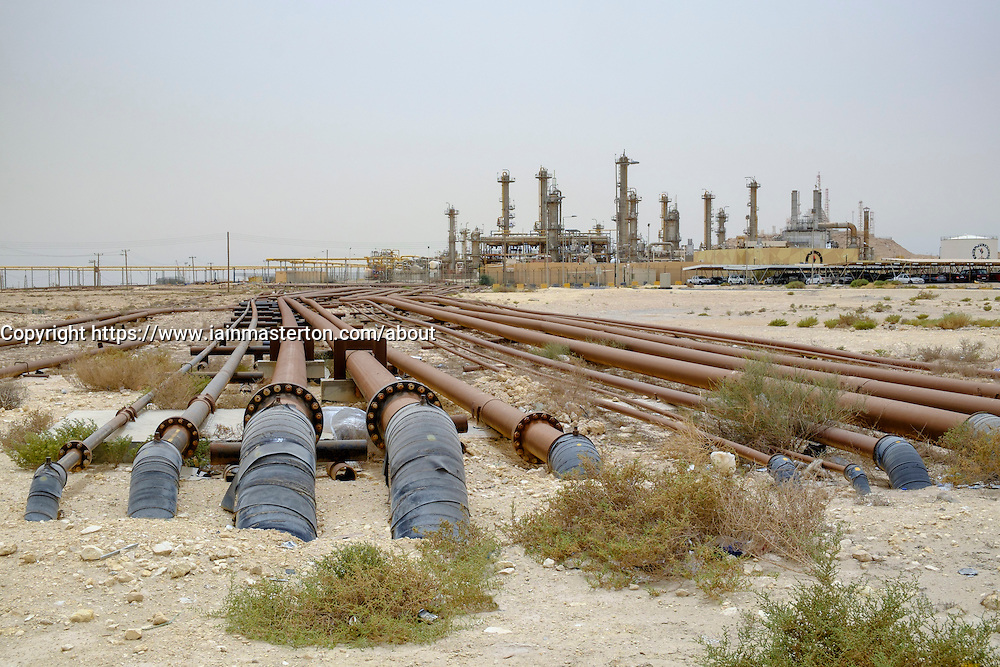 Oil pipelines and refinery in oilfields of Kingdom of Bahrain.