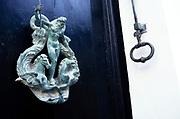 Antique door knocker of Neptune in ancient city of Mdina, Malta 1998