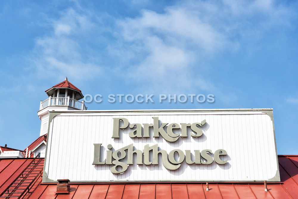 Closeup of Parkers Lighthouse Seafood Restaurant at Shoreline Village at Rainbow Harbor