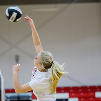 Grants Pirate Cobie Jones spikes the ball over the net during practice Wednesday at Grants High School.