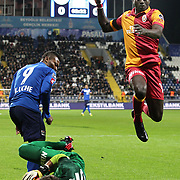 Galatasaray's Dany Achille Nounkeu Tchounkeu (R) during their Turkish superleague soccer match Kasimpasa between Galatasaray at the Recep Tayyip Erdogan stadium in Istanbul Turkey on Friday 18 January 2013. Photo by Aykut AKICI/TURKPIX