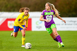 Poppy Pattinson of Bristol City is marked by Charlie Wellings of Birmingham City Women - Mandatory by-line: Ryan Hiscott/JMP - 14/10/2018 - FOOTBALL - Stoke Gifford Stadium - Bristol, England - Bristol City Women v Birmingham City Women - FA Women's Super League 1