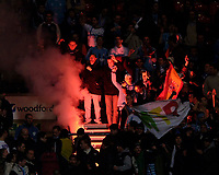 Photo: Jed Wee.<br /> Bolton Wanderers v Marseille. UEFA Cup. 15/02/2006.<br /> <br /> Marseille fans light a flare in the stands.