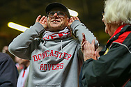 A Doncaster Rovers fan during the EFL Sky Bet League 1 second leg Play-Off match between Charlton Athletic and Doncaster Rovers at The Valley, London, England on 17 May 2019.