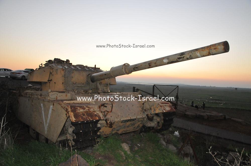 Israeli Tank as a memorial for the fallen soldiers at the battle of Tel Saqi [Tel Saki Tel a-Saqi], Golan Heights in October 1973 - The Yom Kippur war