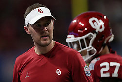 Head coach Lincoln Riley of the Oklahoma Sooners reacts to a play during the first half against the LSU Tigers in the 2019 College Football Playoff Semifinal at the Chick-fil-A Peach Bowl on Saturday, Dec. 28, in Atlanta. (Jason Parkhurst via Abell Images for the Chick-fil-A Peach Bowl)
