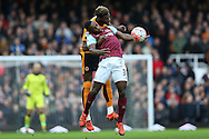 Michail Antonio of West Ham United is challenged by Dominic Iorfa of Wolverhampton Wanderers. The Emirates FA cup, 3rd round match, West Ham Utd v Wolverhampton Wanderers at the Boleyn Ground, Upton Park  in London on Saturday 9th January 2016.<br /> pic by John Patrick Fletcher, Andrew Orchard sports photography.