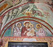Pictures & images of the Byzantine tympanum fresco of Theotokos, depicting the Virgin Mary, the  Mother of God, and child, 1126-1130, in the apse of the Gelati Georgian Orthodox Church of the Virgin, 1106. The medieval Gelati monastic complex near Kutaisi in the Imereti region of western Georgia (country). A UNESCO World Heritage Site. .<br /> <br /> Visit our MEDIEVAL PHOTO COLLECTIONS for more   photos  to download or buy as prints https://funkystock.photoshelter.com/gallery-collection/Medieval-Middle-Ages-Historic-Places-Arcaeological-Sites-Pictures-Images-of/C0000B5ZA54_WD0s<br /> <br /> Visit our REPUBLIC of GEORGIA HISTORIC PLACES PHOTO COLLECTIONS for more photos to browse, download or buy as wall art prints https://funkystock.photoshelter.com/gallery-collection/Pictures-Images-of-Georgia-Country-Historic-Landmark-Places-Museum-Antiquities/C0000c1oD9eVkh9c