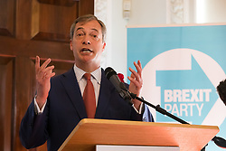 © Licensed to London News Pictures. 23/04/2019. London, UK. Nigel Farage speaking at a Brexit Party candidate launch event in London. Nigel Farage launched his new political party, the Brexit Party earlier this month, to campaign for the European elections. Photo credit: Vickie Flores/LNP