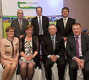 Prof Cathal O Donohue Teagasc, David Small, DARDNI, Peter Young IFJ, and seated MEP Mairead McGuinness Eileen McClure, Kitchens Incubators Kerry (Value Added/ Speciality Food Category Winner), Prof Gerry Boyle, Director Teagasc and John Concannon JFC  at the JFC Innovation awards sponsored by Teagasc, DARD Northern Ireland and the Irish Farmers Journal at the Claregalway Hotel. Photo:Andrew Downes