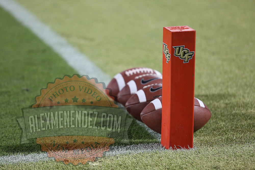 UCF footballs are seen prior to an NCAA football game between the South Florida Bulls and the 17th ranked University of Central Florida Knights at Bright House Networks Stadium on Friday, November 29, 2013 in Orlando, Florida. (AP Photo/Alex Menendez)