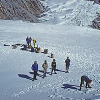 NEPAL, HIMALAYA, Trekkers on 17,782' Cho La Pass, Khumbu region.