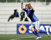 Fotball<br /> Four Nations Tournament Female U17<br /> 3rd place match<br /> Finland v Denmark 2-0 / Finland v Danmark 2-0<br /> 14.05.2006<br /> Foto: Morten Olsen, Digitalsport<br /> <br /> Anna Westerlund / SCR celebrating her goal to 1-0