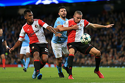 21st November 2017 - UEFA Champions League - Group F - Manchester City v Feyenoord - Sergio Aguero of Man City is squeezed by Renato Tapia of Feyenoord (L) and Sven van Beek of Feyenoord - Photo: Simon Stacpoole / Offside.