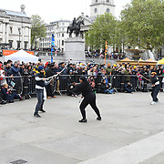 London, England, UK. 27 April 2019. Sikh martial art preforms at Vaisakhi Festival is a Sikh New Year in Trafalgar Square, London, UK.