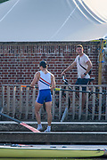 Henley-On-Thames, Berkshire, UK., Wednesday,  12/08/2020,  Athletes, Crews boating from Leander Club for training,  Coach, Will FLETCHER,  Mandatory Credit © Peter Spurrier/Intersport Images], , Training during, the  coronavirus (COVID-19), pandemic,