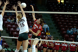 06 November 2004....Laura Doornbos looks to kill.....Illinois State University Redbirds V SouthWest Missouri State University Bears Volleyball.  Redbird Arena, Illinois State University, Normal IL..Illinois State Redbirds v Southwest Missouri State