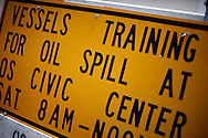 A sign at the harbor in Ocean Springs, Mississippi directed boat owners to a BP training class to help with the oil spill May 9, 2010.   REUTERS/Rick Wilking (UNITED STATES)