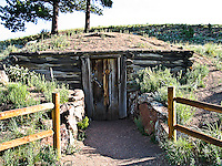 Entrance to the storage cellar of the 1887 homestead of Adaline Hornbek and family.  Florissant Fossil Beds National Monument, Colorado.