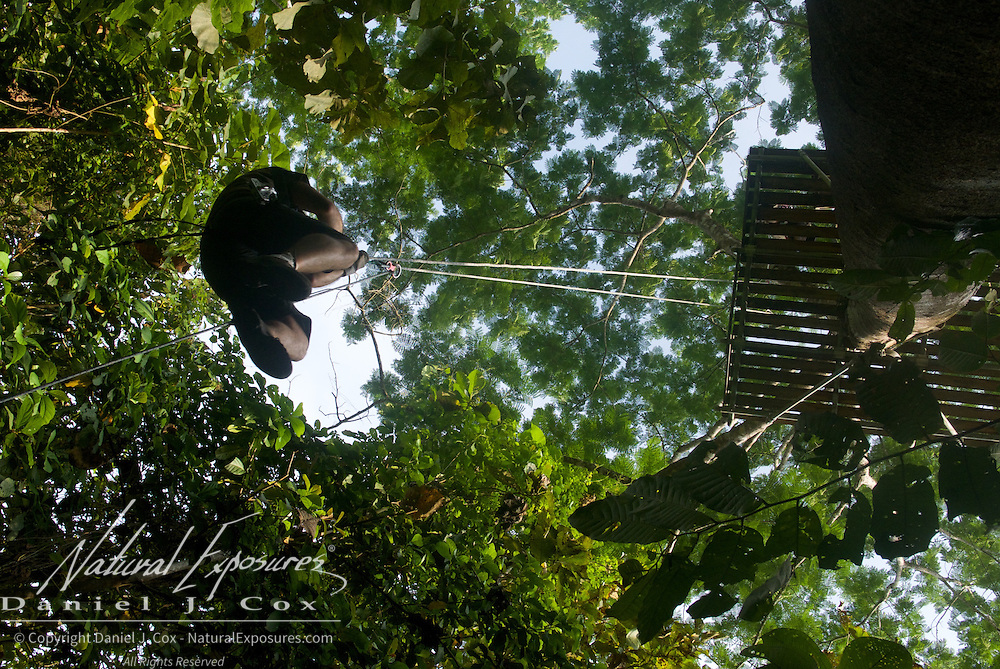 Rappelling down from the forest canopy. Costa Rica.