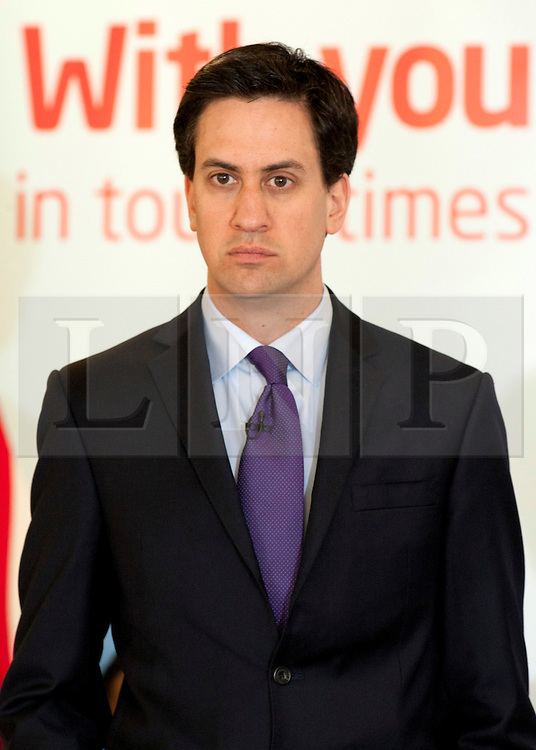 © Licensed to London News Pictures.02/04/2012. Birmingham, UK. Labour Party Leader Ed Miliband launched Labour's Local Election Campaign in Birmingham earlier today. Pictured, Ed Miliband giving his launch speech. Photo credit : Dave Warren/LNP