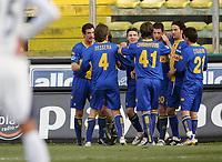 """Igor Budan (Parma) festeggiato dopo il gol dell'1-0 dai compagni di squadra<br /> Igor Budan (Parma) celebrates after scoring first goal<br /> Italian """"Serie A"""" 2006-07 <br /> 23 Dic 2006 (Match Day 18)<br /> Parma-Lazio (1-3)<br /> """"Ennio Tardini"""" Stadium-Parma-Italy<br /> Photographer Luca Pagliaricci INSIDE"""