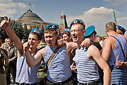 Moscow, Russia, 02/08/2006..Russian paratroops drinking and celebrating their regimental holiday on Red Square.
