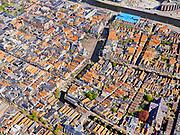 Nederland, Noord-Holland, Alkmaar, 07-05-2021; historische binnenstad Alkmaar met onder in beeld de Vismarkt; de Mient richting Waagplein met de Voordam.<br /> Historic city center of Alkmaar with the Vismarkt at the bottom; de Mient towards Waagplein with the Voordam.<br /> <br /> luchtfoto (toeslag op standaard tarieven);<br /> aerial photo (additional fee required)<br /> copyright © 2021 foto/photo Siebe Swart